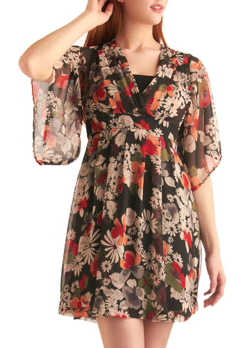 Scarborough Flair Dress in Black Pepper - Mid-length, Casual, Boho, Vintage Inspired, 70s, Red, Orange, Green, Tan / Cream, Black, Floral, Pleats, Empire, Short Sleeves, Sheer