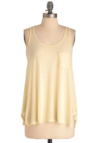 Water with Lemon Top - Yellow, White, Stripes, Casual, Sleeveless, Exposed zipper, Handkerchief, Mid-length