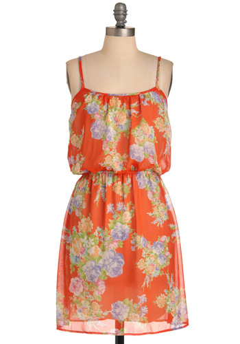 Seed Swap Dress - Mid-length, Orange, Multi, Green, Purple, Pink, Floral, Casual, Shift, Spaghetti Straps, Summer
