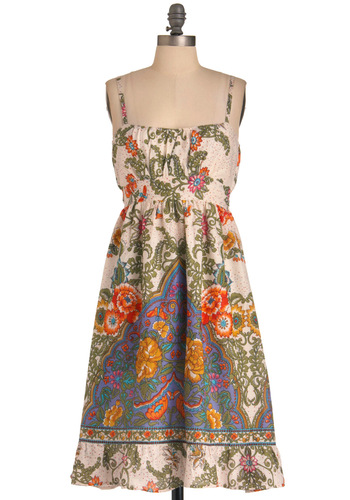 Consider It Fun Dress - Long, Casual, Boho, Multi, Paisley, Shift, Spaghetti Straps, Multi, White, Floral, Cotton, Daytime Party