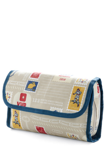 Pretty City Travel Case - Multi, Novelty Print, Blue, Tan / Cream, Travel, Cotton, Mod