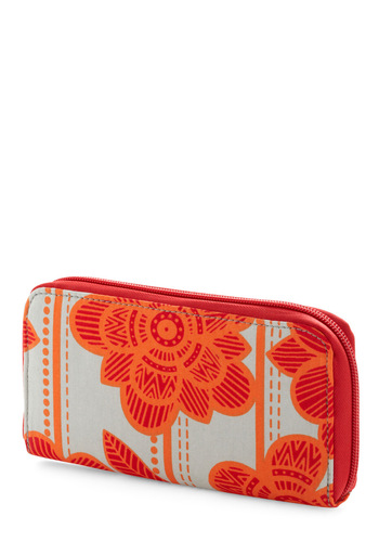 Yard Sale Seeker Wallet - Orange, Red, White, Floral, Exposed zipper, Vintage Inspired