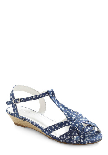 Never Blue with You Sandal - Blue, White, Floral, Cutout, Casual, Summer, Sundress, Low, Good, T-Strap