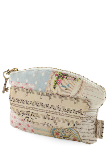 Note-worthy Makeup Bag by Disaster Designs - Cream, Multi, Pockets, Vintage Inspired, Pastel, Holiday Sale, Music, International Designer, Travel, Boudoir, Good