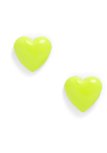 Neon My Mind Earrings - Casual, Yellow, Solid