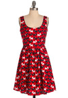 Brighten Me Up, Scotty Dress - Mid-length, Red, Pleats, Pockets, A-line, Black, White, Print with Animals, Tank top (2 thick straps), Fit & Flare, Scoop, Summer
