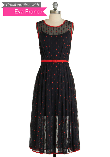 Sample 1551 - Black, Red, Polka Dots, Lace, Pleats, Trim, Sheath / Shift, Sleeveless, Lace