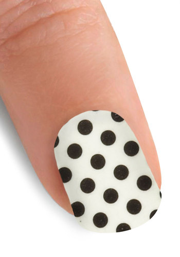 Point the Way Nail Stickers in Polka Dot - Casual, Rockabilly, White, Black, Polka Dots