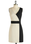 It's All in the Presentation Dress - Short, Work, Urban, Tan / Cream, Black, Buttons, Sheath / Shift, Sleeveless
