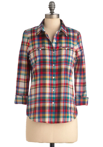 Homeward Bound Top in Multicolor - Multi, Buttons, Casual, Multi, Plaid, Pockets, Menswear Inspired, Long Sleeve, Mid-length, Cotton, Button Down, Collared, Rustic