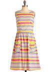Make Your Moves Dress - Mid-length, Stripes, Pockets, Sleeveless, Casual, Vintage Inspired, Multi, Yellow, Pink, Embroidery, Statement, A-line, International Designer