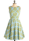 Made the Grade Dress - Long, Print, Buttons, Pleats, Sleeveless, Vintage Inspired, Yellow, Blue, Daytime Party, Cotton, Fit & Flare, Pastel, Graduation