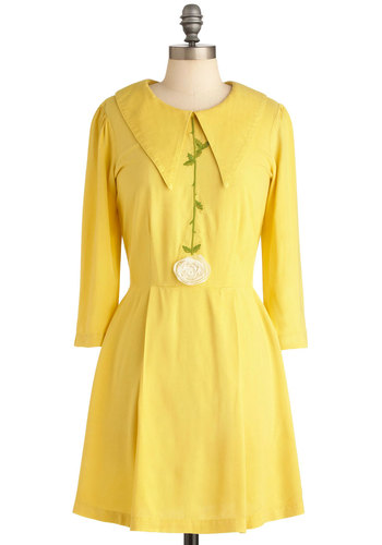 Stay on the Sunny Side Dress - Short, Vintage Inspired, 60s, Yellow, Solid, Flower, Long Sleeve, Spring