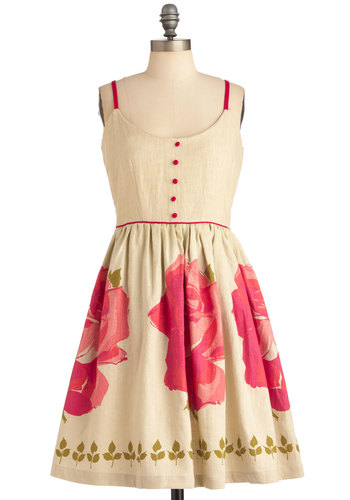 Handmade Cards Dress by Knitted Dove - Mid-length, Tan, Pink, Floral, Buttons, A-line, Spaghetti Straps, Wedding, Vintage Inspired, Pockets, Party
