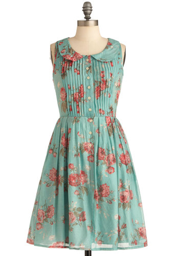 La Vie en Rosebuds Dress by Knitted Dove - Mid-length, Multi, Floral, Peter Pan Collar, Pleats, A-line, Sleeveless, Vintage Inspired, Blue