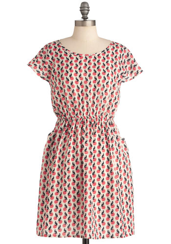On the Yarn Ball Dress - Mid-length, Pockets, Casual, Multi, Pink, Black, White, Print with Animals, Short Sleeves