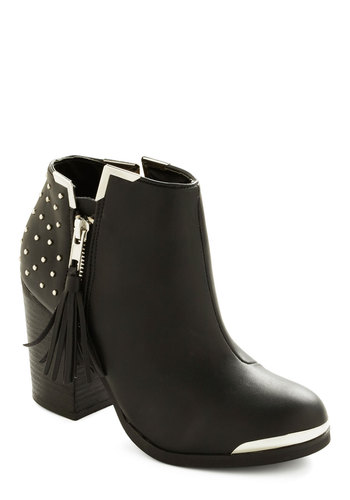 Fame of Mind Bootie - Multi, Silver, Solid, Exposed zipper, Studs, Tassels, Statement, Mid