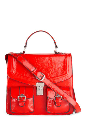 Sweet Shades Bag in Candy Apple - Red, Solid, Buckles, Pockets, Luxe, Casual