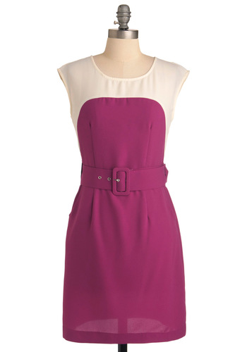 Sheath the One Dress in Berry - Mid-length, Work, Urban, Vintage Inspired, Buckles, Shift, Purple, Multi, 60s, Cap Sleeves