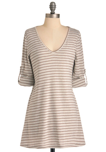 Evening Read Top - Long, Tan, Stripes, Casual, Brown, Long Sleeve, 3/4 Sleeve