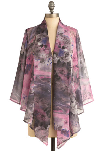 Work Flow Cardigan - Short, Floral, Casual, Long Sleeve, Boho, Purple, Grey, Ruffles
