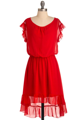 Flutter Your Plans? Dress - Mid-length, Red, Solid, Ruffles, Sheath / Shift, Party, Short Sleeves, Sheer, Fit & Flare