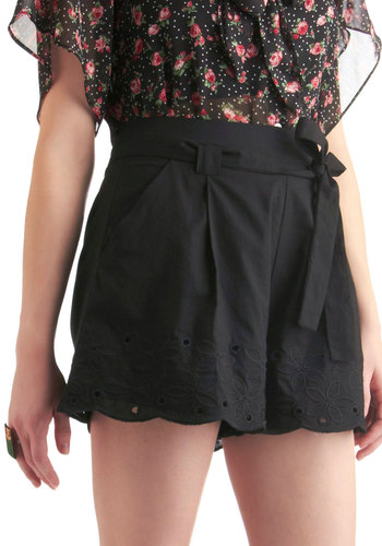 Daisy or Night Shorts - Casual, Vintage Inspired, 60s, 70s, Black, Solid, Eyelet, Summer, Mid-length