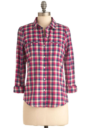 Homeward Bound Top in Fuchsia - Mid-length, Multi, Pink, Checkered / Gingham, Casual, Long Sleeve, Blue, White, Buttons, Pockets, Menswear Inspired, 90s, Cotton, Button Down, Collared, Rustic