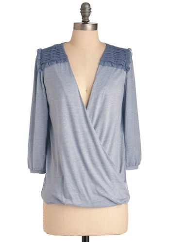 Crossover and Out Top - Mid-length, Blue, Casual, Solid, 3/4 Sleeve, V Neck