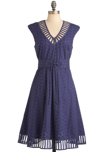 Plenty by Tracy Reese Caprese for You Dress in Blue by Plenty by Tracy Reese - Long, Blue, Solid, Eyelet, A-line, Cap Sleeves, Vintage Inspired, Cutout, Party