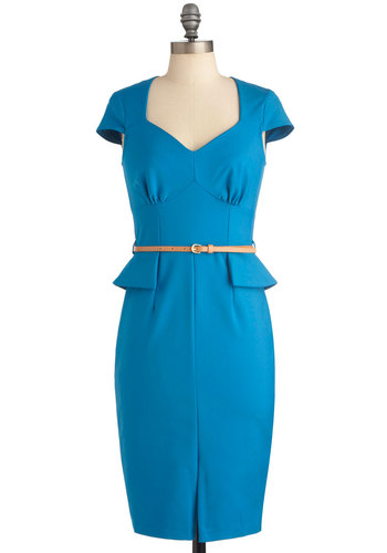 From the Editor Dress - Long, Blue, Solid, Exposed zipper, Sheath / Shift, Cap Sleeves, Work, Vintage Inspired, 40s, Ruffles, Pinup