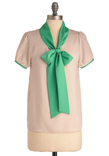 Singing Lessons Top in Tan and Green - Mid-length, Tan, Green, Solid, Work, Vintage Inspired, Short Sleeves, Trim