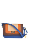 City Colorblock Bag - Casual, Vintage Inspired, Orange, Blue, Brown, Tan / Cream
