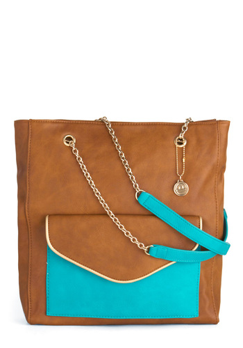 At the Aquarium Bag - Casual, Urban, Brown, Blue, Chain, Exposed zipper, Pockets
