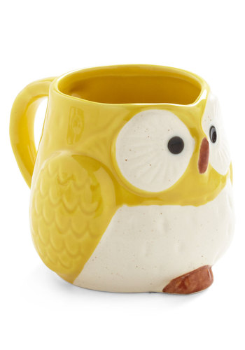 Owl Warm and Cozy Mug in Yellow - Yellow, Vintage Inspired, Owls, Dorm Decor, Eco-Friendly, Best Seller, Best Seller, Mid-Century