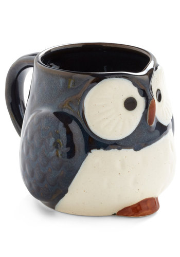 Owl Warm and Cozy Mug in Navy - Blue, Vintage Inspired, Owls, Dorm Decor, Eco-Friendly, Mid-Century, Top Rated