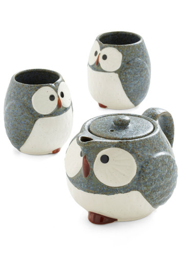 Owl Warm and Cozy Tea Set in Stone - Grey, Brown, White, Owls, Eco-Friendly, Mid-Century