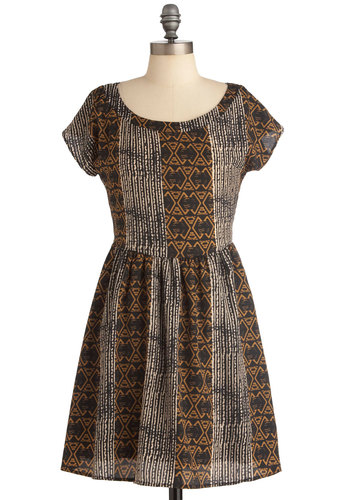 Frock Formations Dress - Short, Casual, Folk Art, Brown, Black, White, Print, Buttons, Cutout, A-line, Mini, Short Sleeves