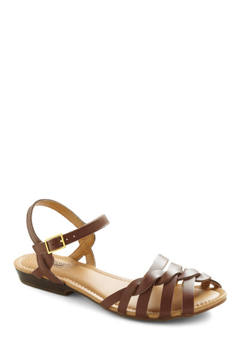 Let's Twist Sandal by Bass - Brown, Braided, Casual, Summer