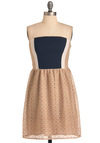 Exclusive Interview Dress - Tan, Blue, White, Lace, Twofer, Strapless, Mid-length