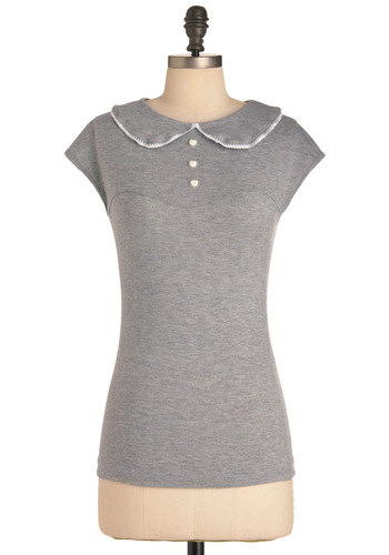Serving Smiles Top - Mid-length, Grey, Buttons, Vintage Inspired, Casual, Peter Pan Collar, Cap Sleeves, Exclusives, Jersey, Collared