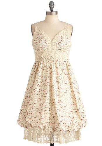 Wreathed in Roses Dress - Cream, Red, Floral, Lace, Tiered, Spaghetti Straps, Spring, Mid-length, International Designer