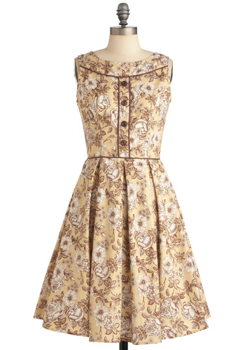 Only Time Will Toile Dress - Mid-length, Vintage Inspired, Multi, Yellow, Tan / Cream, Floral, Buttons, Trim, Party, A-line, Sleeveless, Fit & Flare