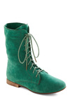 Lady in Rad Boot in Aqua - Green, Solid, Casual, Faux Leather, Lace Up, Low, Best Seller, Holiday Sale, Variation, Fall