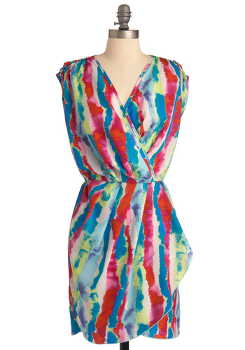 You Art to Try It Dress - Mid-length, Statement, Multi, Red, Blue, Print, Wrap, Sleeveless