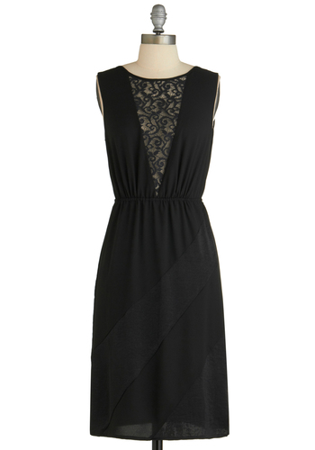 Sample 1595 - Black, Solid, Cutout, Lace, Party, Sleeveless, Mid-length, Sheath / Shift