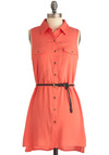Weekend Vacation Dress in Coral - Short, Casual, Safari, Orange, Solid, Buttons, Pockets, Mini, Sleeveless, Shirt Dress, Pink, Belted, Coral, Button Down, Collared, Variation, Travel