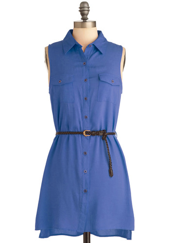 Weekend Vacation Dress in Blue - Short, Casual, Safari, Blue, Solid, Buttons, Pockets, Mini, Shirt Dress, Sleeveless, Belted, Button Down, Collared, Variation, Travel