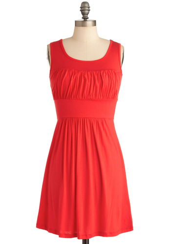 Simplicity Party Dress in Orange - Mid-length, Casual, Orange, Solid, Shift, Sleeveless, Jersey, Minimal, Coral, Variation