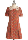 My Heart Just Moults Dress - Mid-length, Casual, Vintage Inspired, Orange, Multi, Brown, Tan / Cream, Print, Lace, Peter Pan Collar, 60s, Sheath / Shift, Short Sleeves, 90s, Scholastic/Collegiate